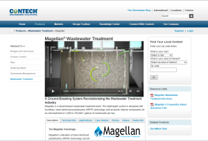 Screenshot of the Magellan Wastewater Treatment Website